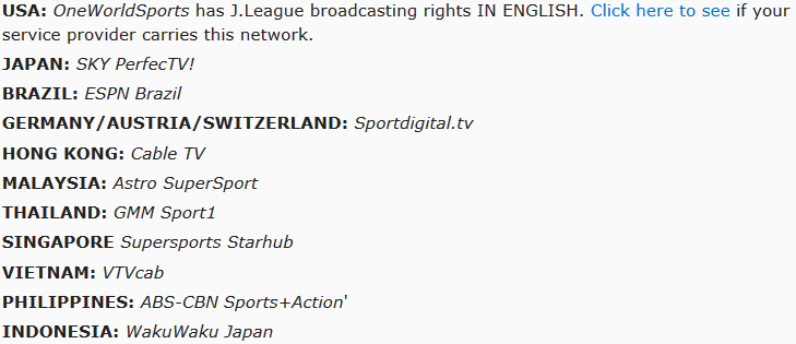 These are the official broadcasters of the J League across the globe