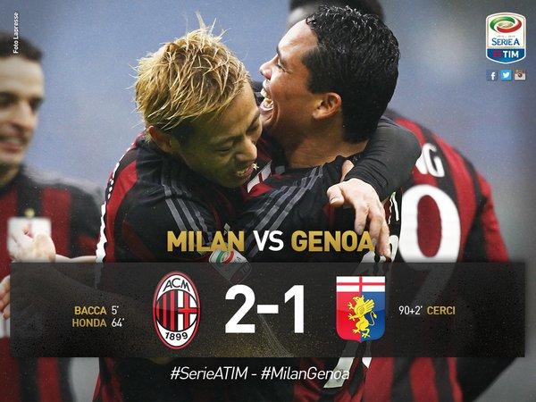 MilanGenoa vince l@acmilan a San Siro decidono il match @carlos7bacca e #Honda