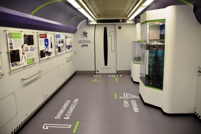 エヴァ新幹線1号車展示・体験コーナー