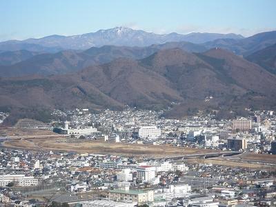 1 桐生市街と渡良瀬川、吾妻山、 袈裟丸山