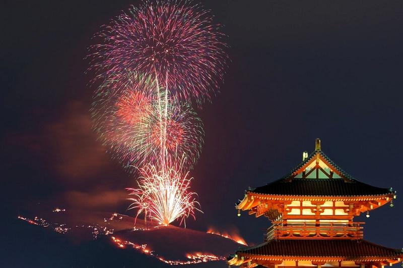 若草山山焼き 2016 平城京跡