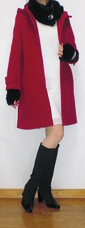 赤ヘリンボーンコート