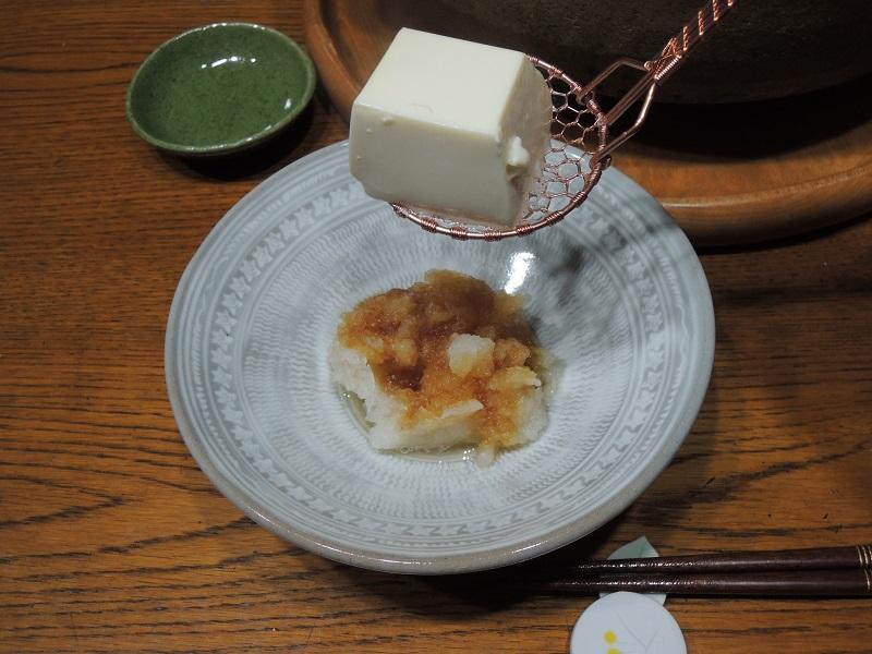 湯豆腐を大根おろしで