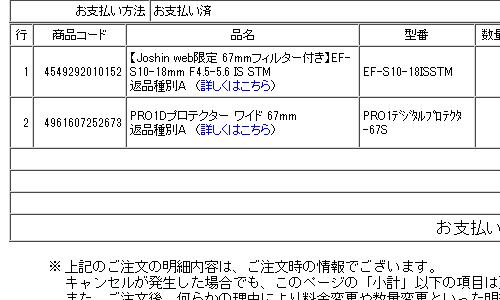 Kenko レンズプロテクタ PRO1D 注文画面