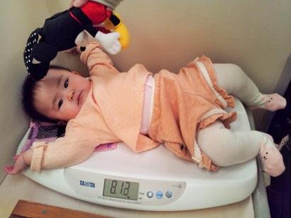 生後8か月 体重測定1