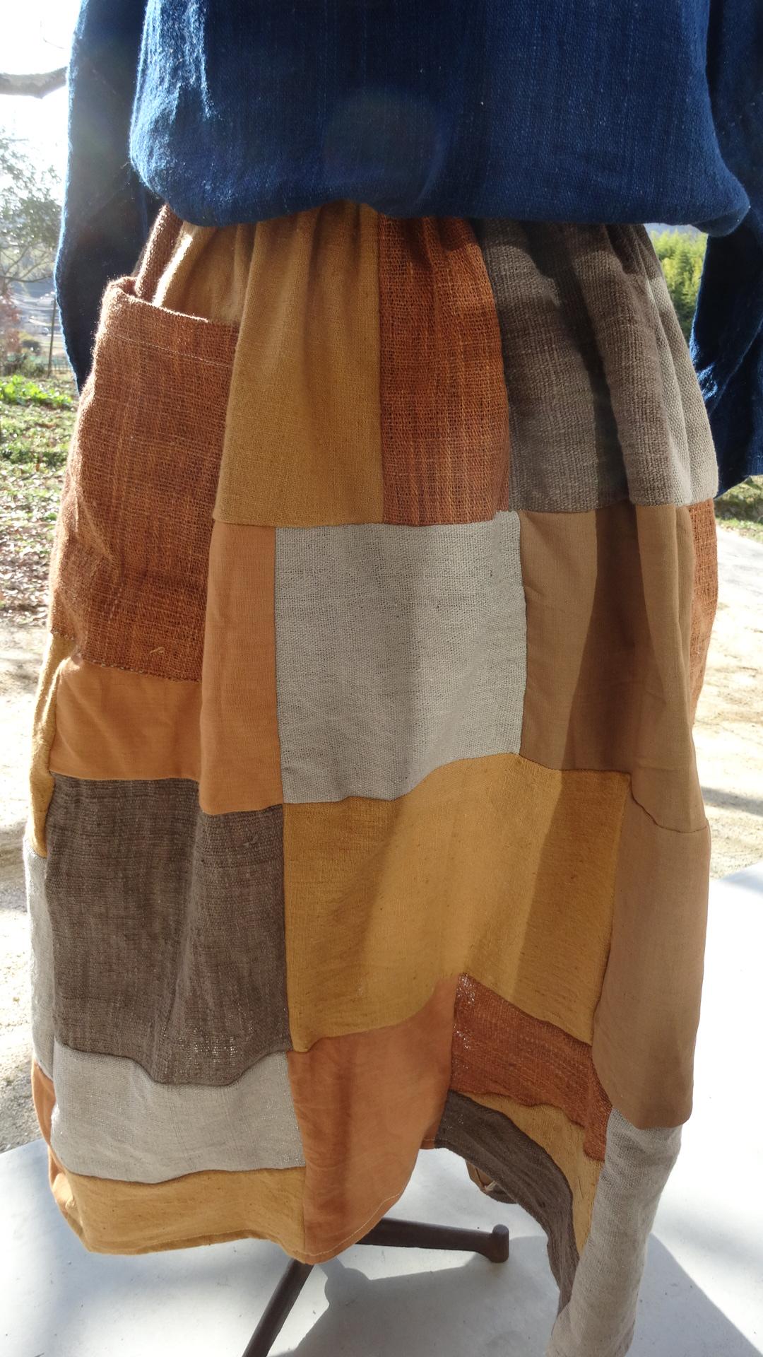 ラオス草木染めパッチワークスカート1