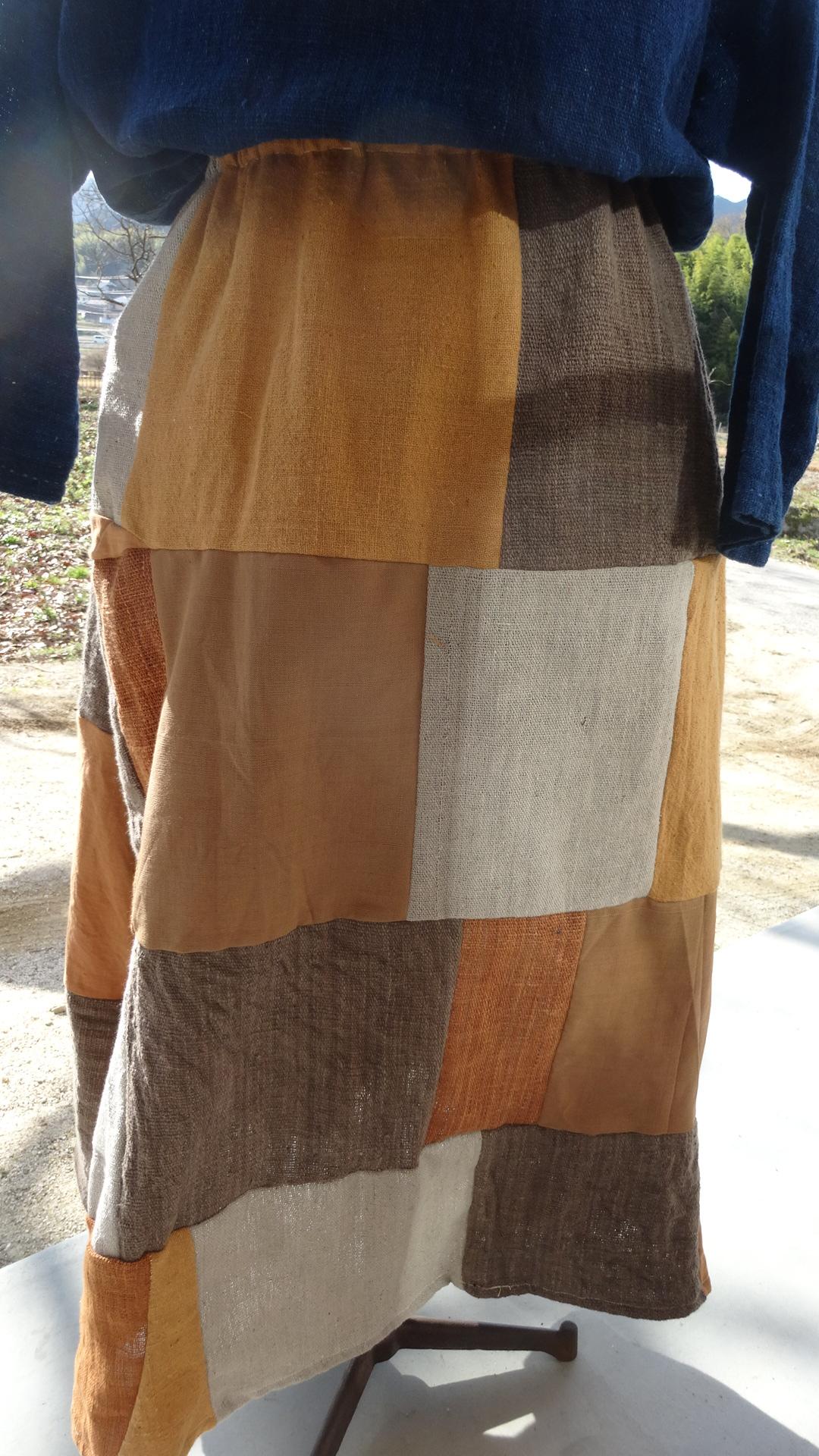 ラオス草木染めパッチワークスカート2