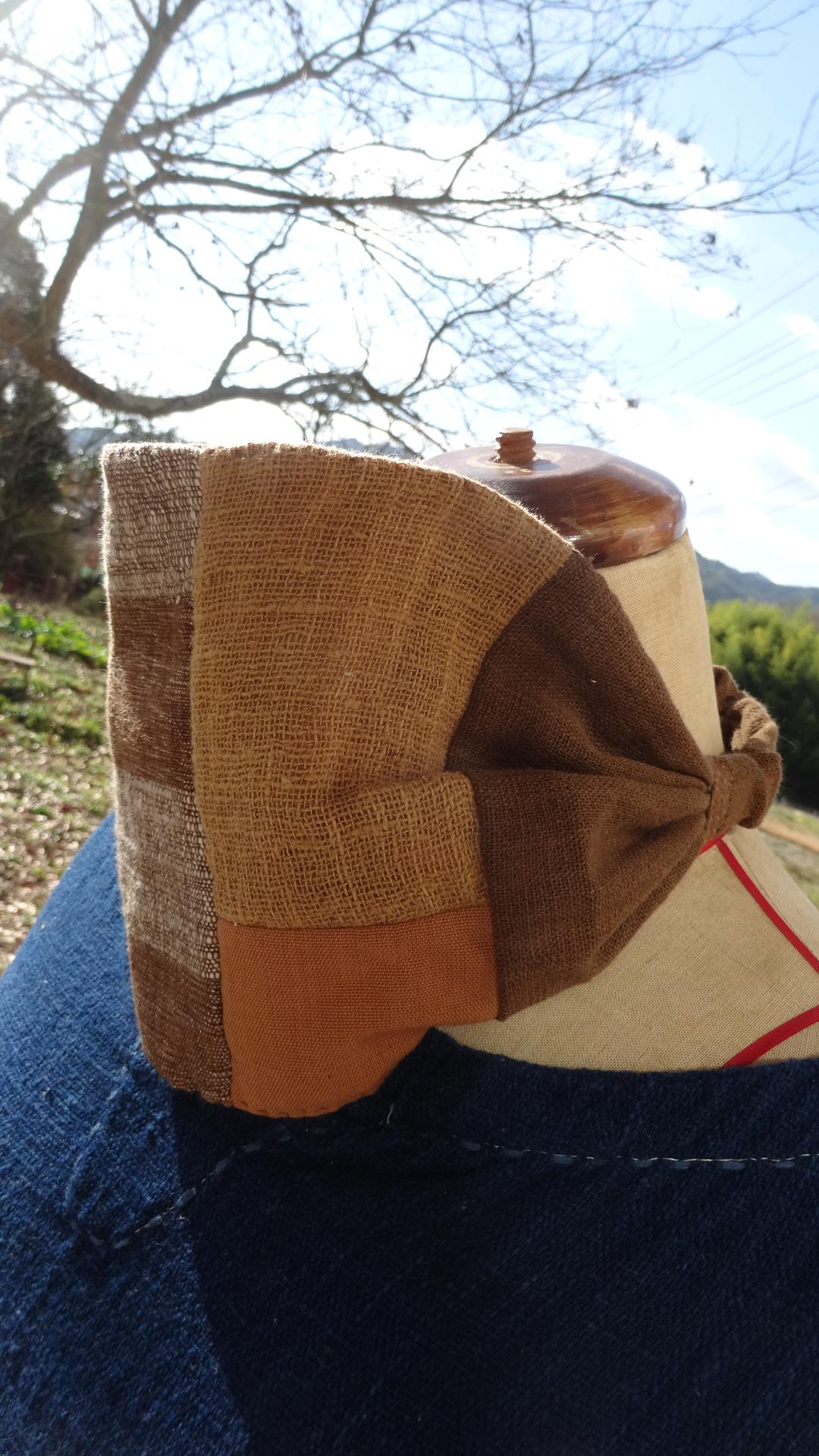 草木染め茶パッチワークヘアバンド1