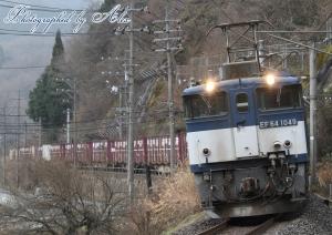 3084レ(=EF64-1049牽引)…広島更新色と分からないですね(汗)