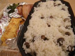 [写真]むかごご飯とおかずの卵焼きとほうれん草&ベーコン炒め