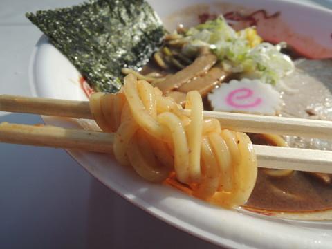 王道の濃厚豚骨魚介ラーメンの麺