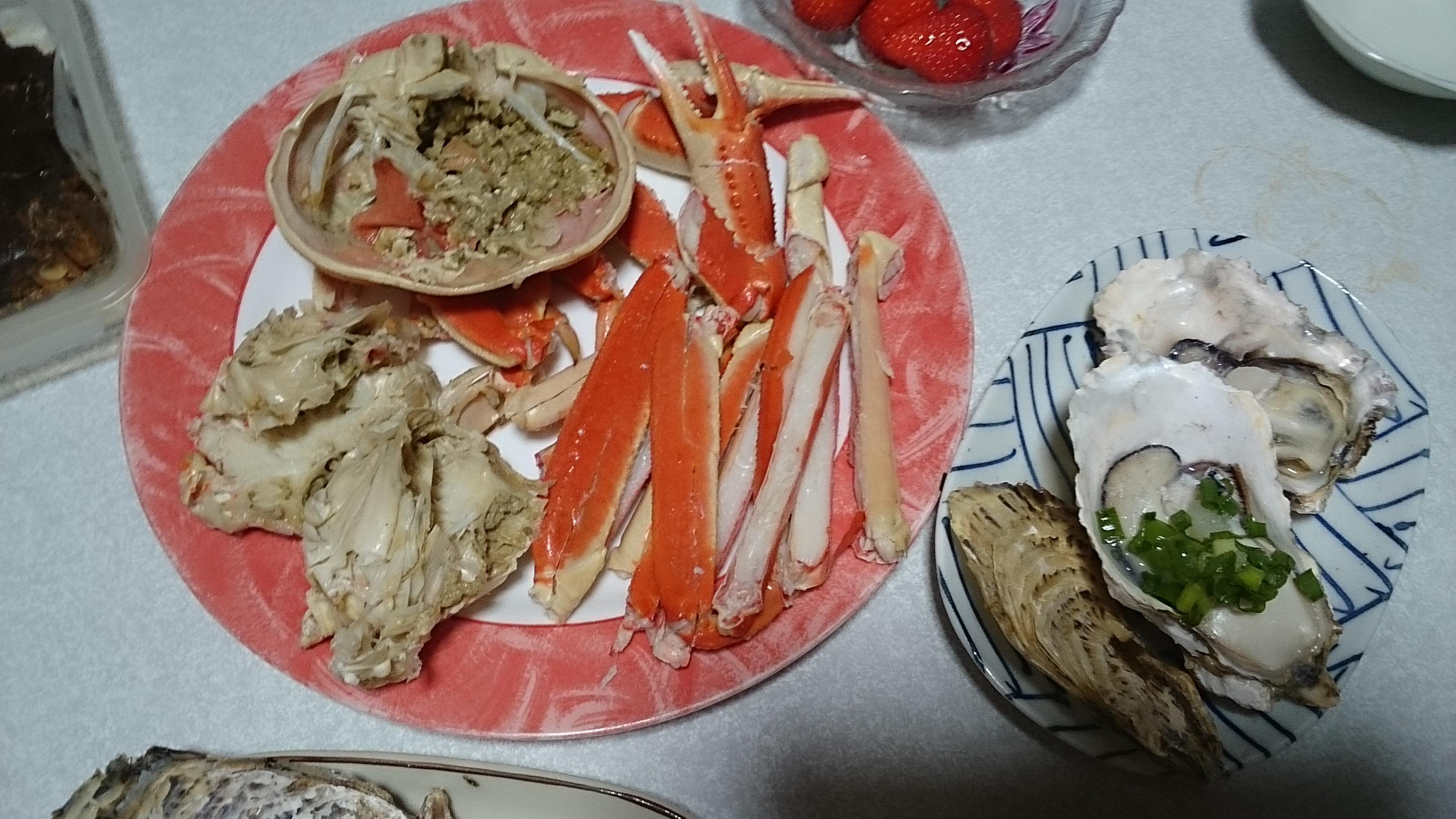 ボイル蟹と焼き牡蠣