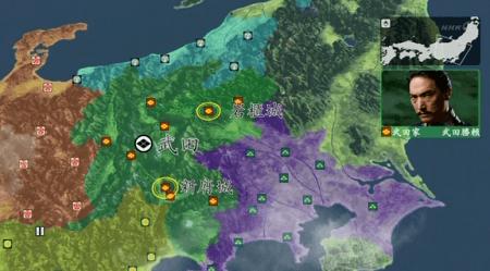 シミュレーションゲーム風の地図。真田丸