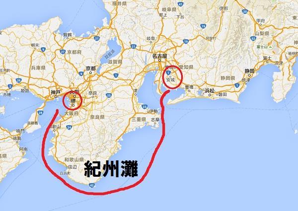 堺に戻り、船で三河・グーグルマップ 真田丸