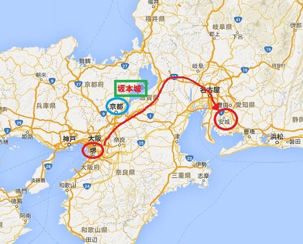北に向かい、琵琶湖沿いから東山道に出るルート・グーグルマップ 真田丸