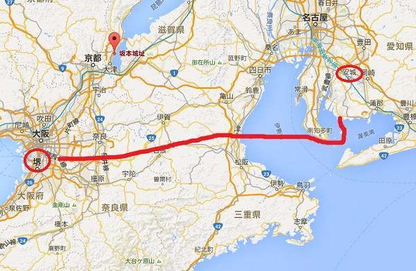 伊賀(三重県西部)を越えるルート グーグルマップ 真田丸