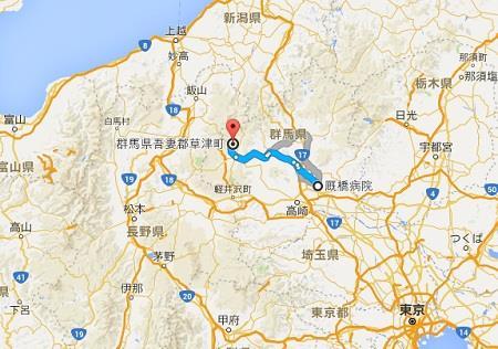 厩橋と草津の距離 グーグルマップ 真田丸
