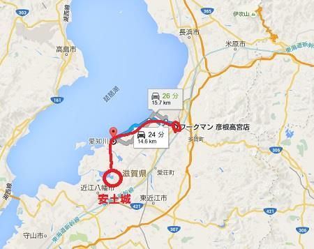 「このまま琵琶湖に沿って林の中を進み、愛知川を渡って高宮を目指す。」グーグルマップ 真田丸