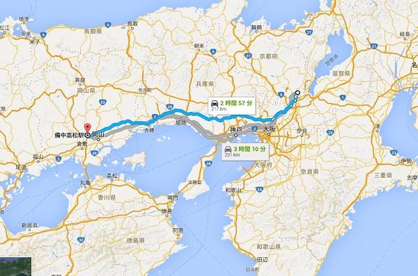 中国大返し200kmを越える距離グーグルマップ 真田丸
