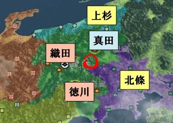武田家滅亡寸前の地図