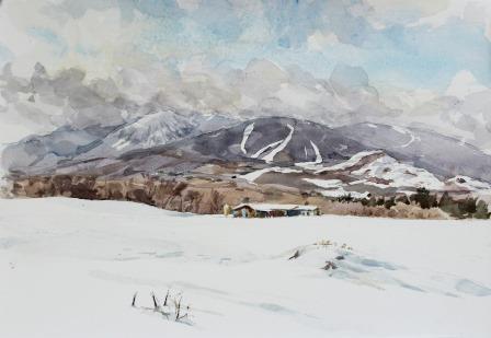 連山雪景色