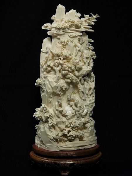 中国美術 本象牙 細密彫刻 高島屋扱い 台座付