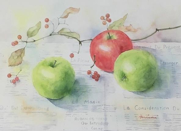 りんごとサルトリイバラ絵A