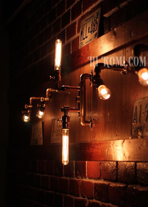 真鍮製2灯壁掛ライト ブラケット ウォールランプ 壁掛 照明 店舗設計 工業系 インダストリアル 20160203