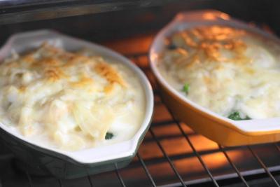 蒸しブロッコリーとゆで卵の豆乳グラタン3