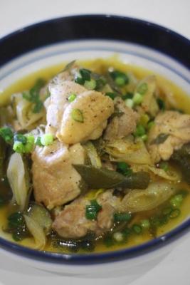 無水調理 de 鶏肉と長ねぎのピリ辛中華蒸しb