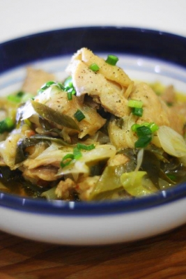 無水調理 de 鶏肉と長ねぎのピリ辛中華蒸しa