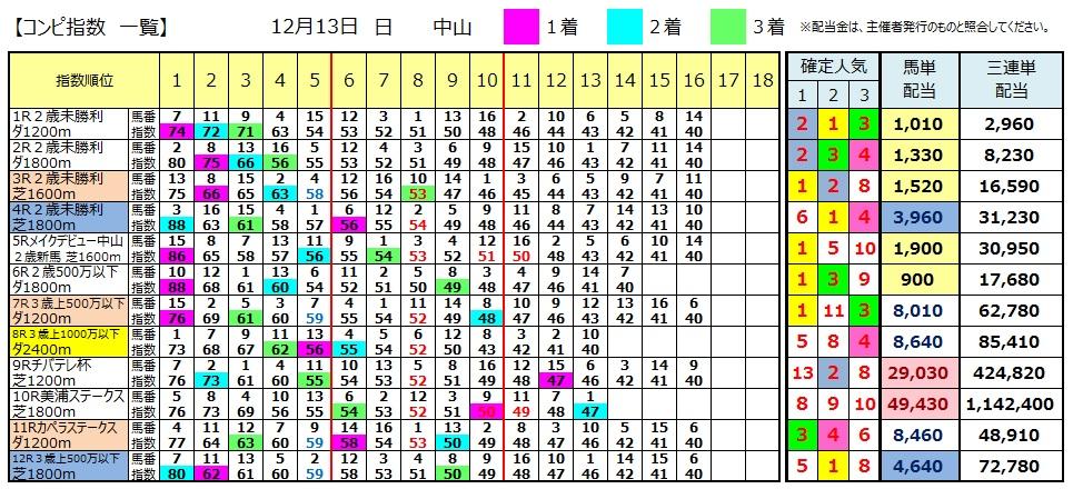 【コンピ結果】1213中山(競馬 3連単 万馬券)