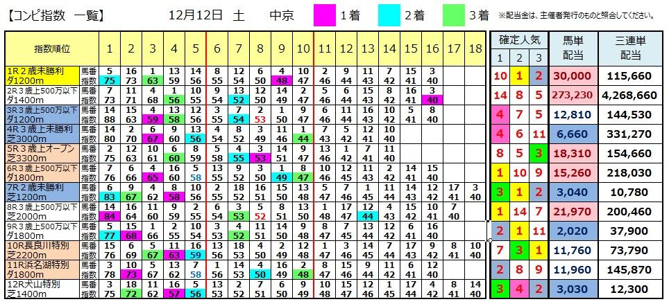 【コンピ結果】1212中京(競馬 3連単 万馬券)