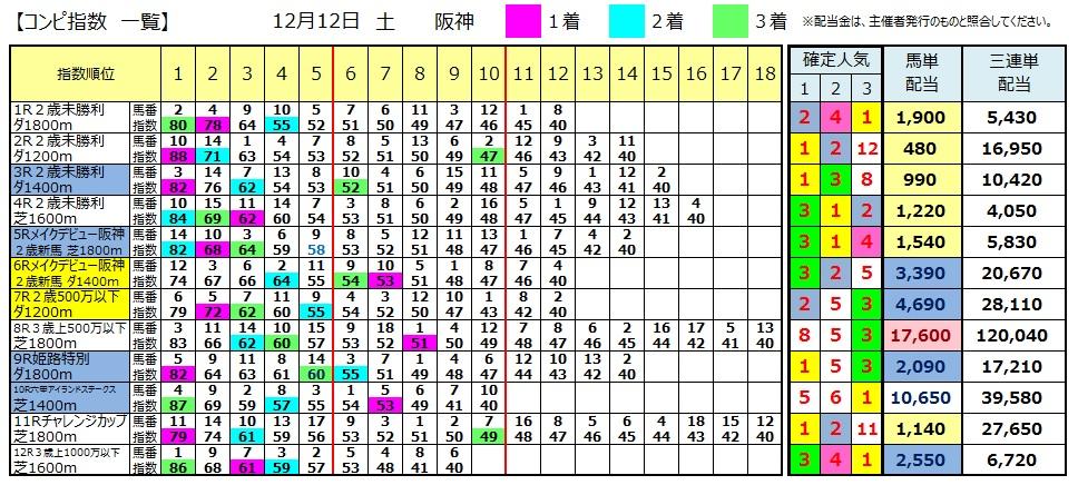 【コンピ結果】1212阪神(競馬 3連単 万馬券)
