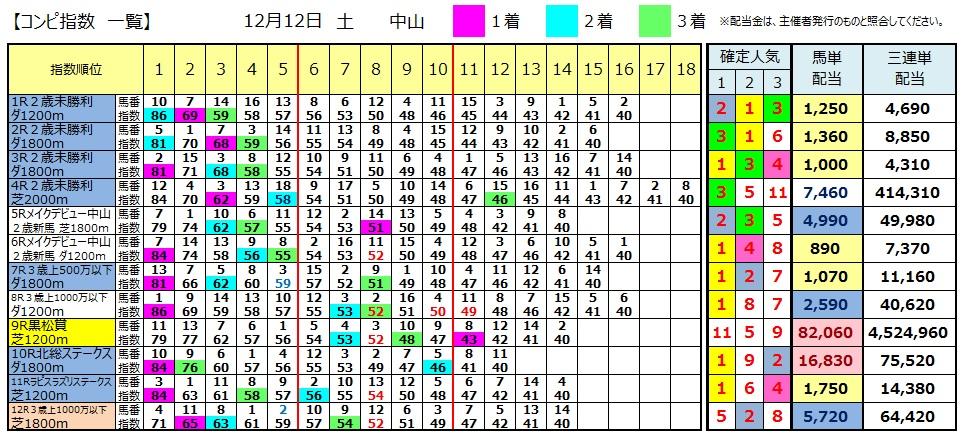 【コンピ結果】1212中山(競馬 3連単 万馬券)