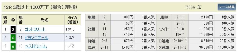 【払戻金】1220東京12(競馬 3連単 万馬券)