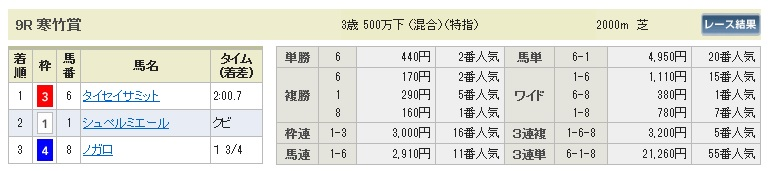 【払戻金】280110中山9(競馬 3連単 万馬券)