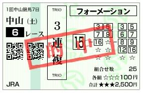 【的中馬券】280123中山6(競馬 3連複 万馬券)