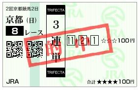 【的中馬券】280131京都8(競馬 3連単 万馬券)