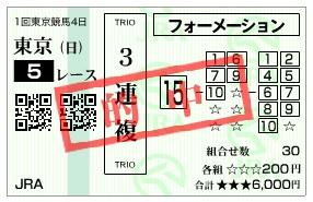 【的中馬券】2800207東京5(競馬 3連単 万馬券)