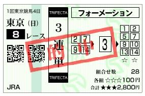 【的中馬券】2800207東京8(競馬 3連単 万馬券)