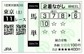 【馬券】280206東京11(競馬 3連単 万馬券)