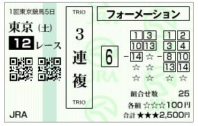 【馬券】2800213東京12(競馬 3連単 万馬券)