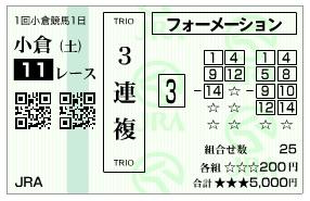 【馬券】2800213小倉11(競馬 3連単 万馬券)