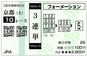 【馬券】2800213京都10(競馬 3連単 万馬券)