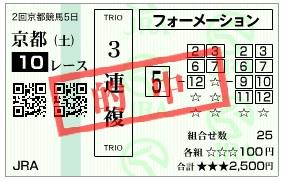 【的中馬券】2800213京都10(競馬 3連単 万馬券)