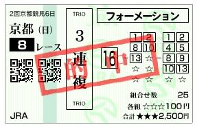 【的中馬券】2800214京都8(競馬 3連単 万馬券)