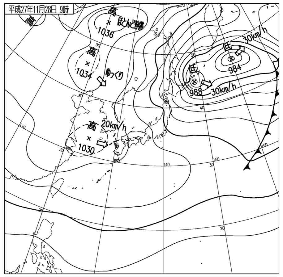 11月28日9時の地上天気図