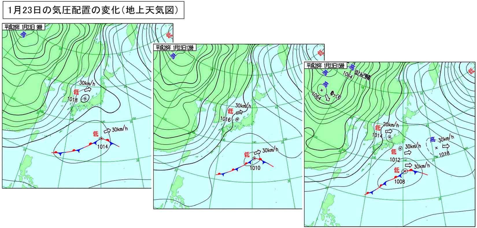 1月23日の地上天気図(9~15時)