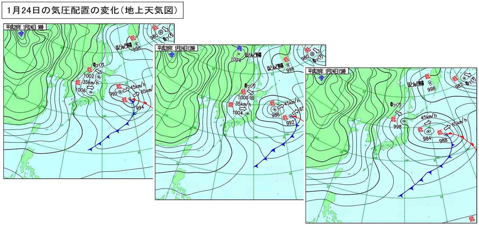 1月24日の地上天気図(9~15時)